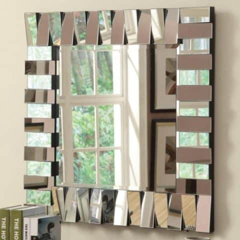 Wall Mirror Contemporary Square Silver Finish
