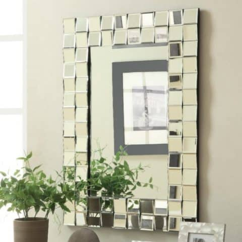 Wall Mirror Contemporary Rectangular Silver Finish