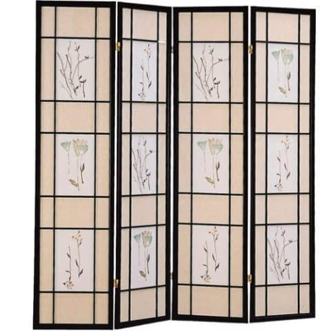 Floral Print Panel Screen Room Divider