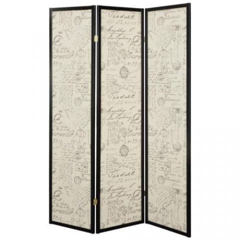 Printed French Script Fabric Room Divider