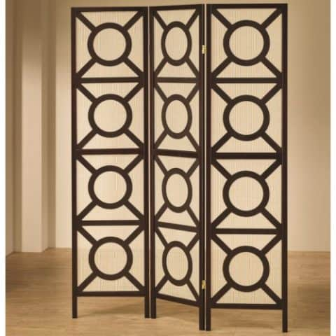 Circle Pattern Design Panel Screen Room Divider Black Finish