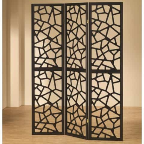 Three Panel Folding Screen Intricate Mosaic Cuts Black Finish