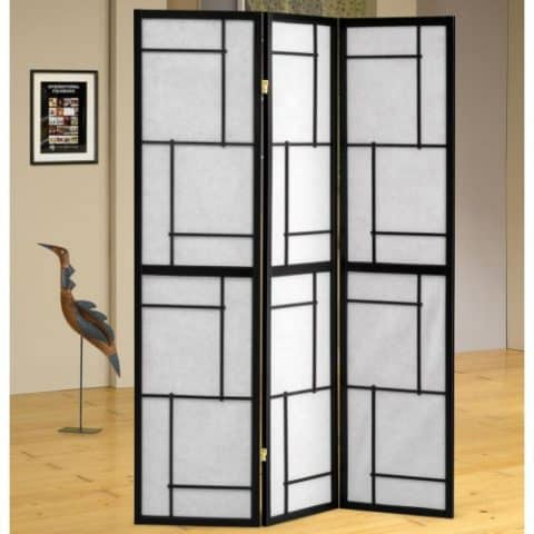 Folding Screens Three Panel White Screen Black Frame