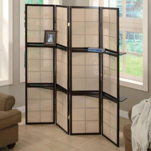 Light Brown Panel Screen Black Wood Frame