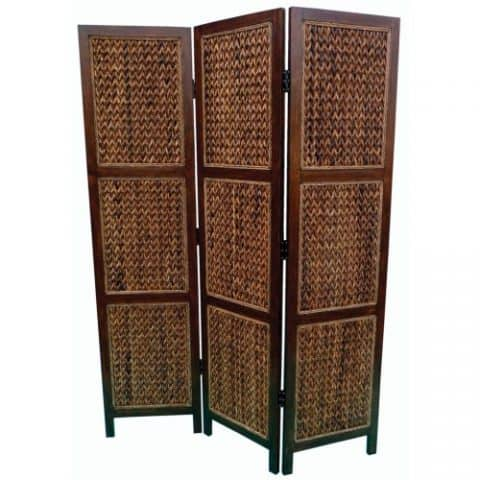 Woven Banana Leaf Three Panel Screen