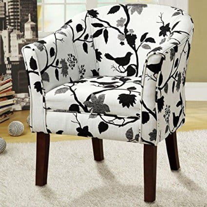 Accent Chair Bird Floral Black & White Fabric Upholstery