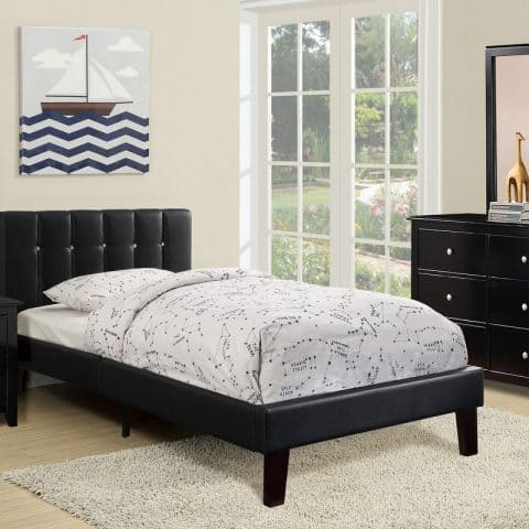 Twin Bed Black Faux Leather