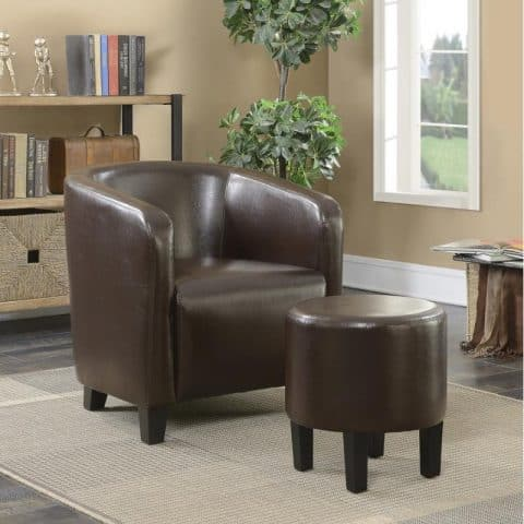 Accent Seating Brown Leatherette Accent Chair With Ottoman