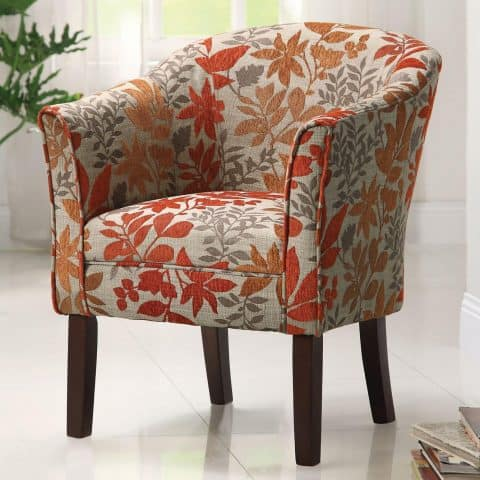 Accent Chair Autumn Leaves Print Fabric Back Chair Flared Arms