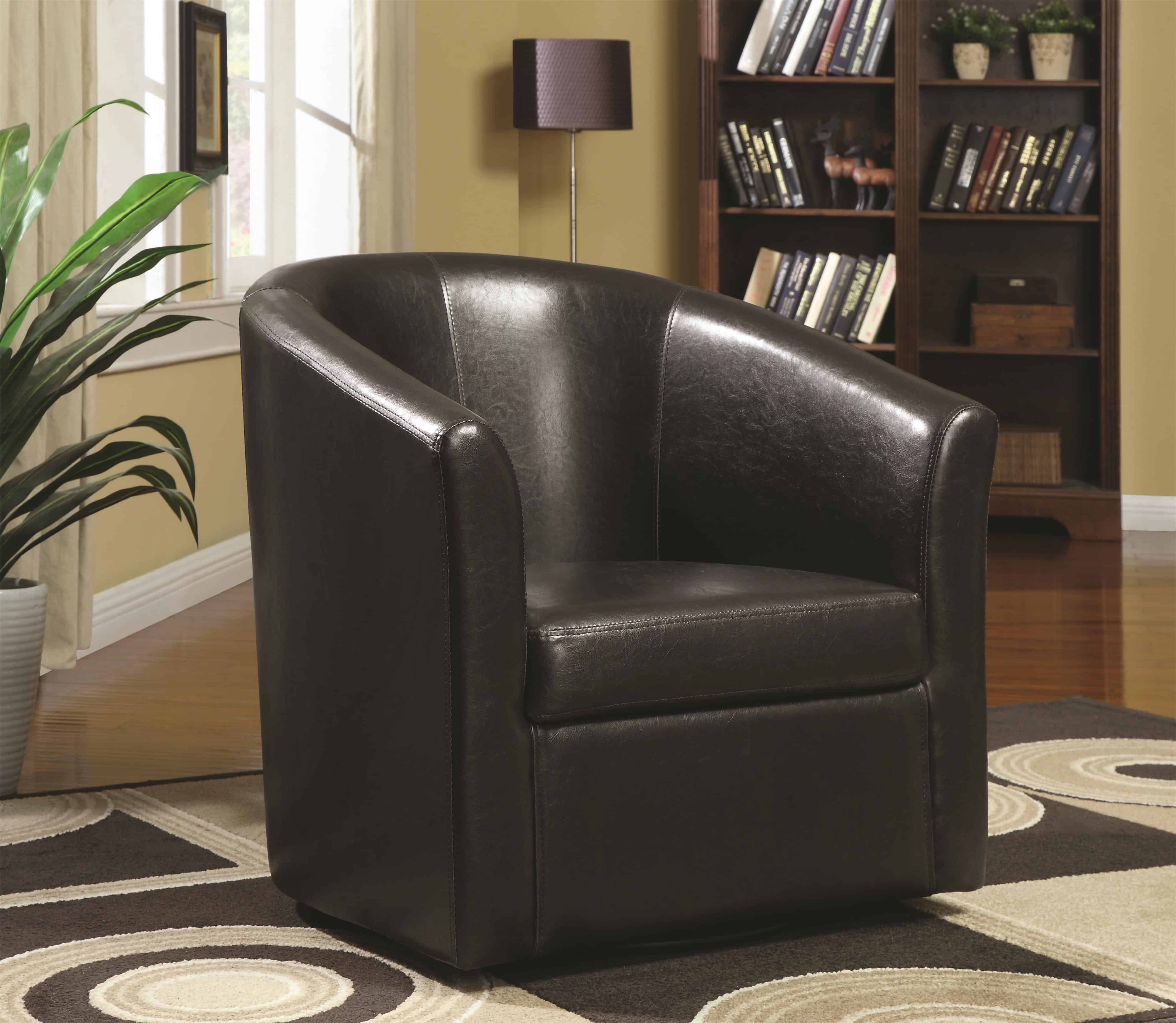 Contemporary Styled Accent Swivel Chair in Brown Vinyl Upholstery