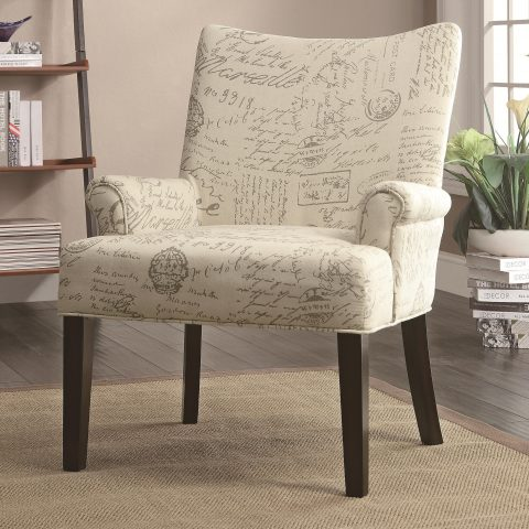 French script pattern printed on beige fabric