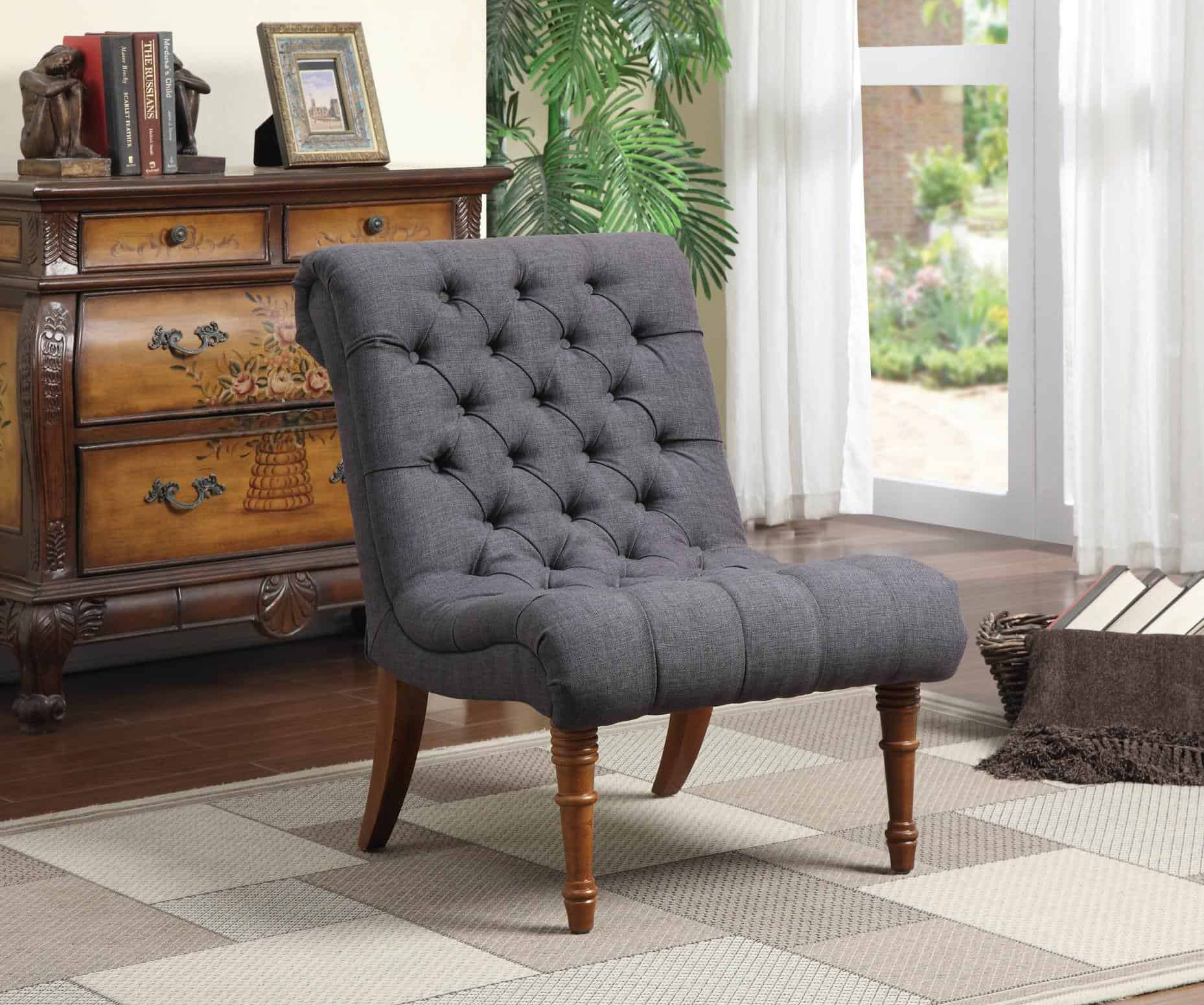 Accent Seating Tufted Button Accent Chair Armsless