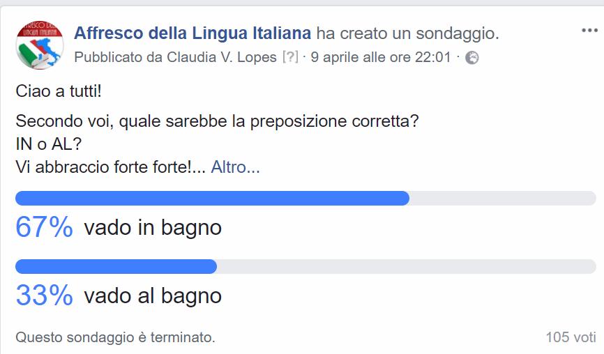 Vado in bagno o al bagno  Affresco della Lingua Italiana