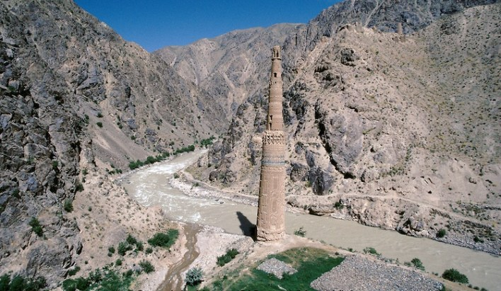 The Menar e Jam in the Ghor province - Afghanistan.  On the right, at the basement of the Menar e Jam, stones have been collect by local farmer under contract by UNESCO, to build stones caissons to protection the Menar again the Harï Rüd river. On the other side of the Harï Rüd river, on the right top of the Menar e Jam, the fortress of  the capital of the Ghorides Empire Fîrûzkôh. -The full text reportage is available on request in Word format