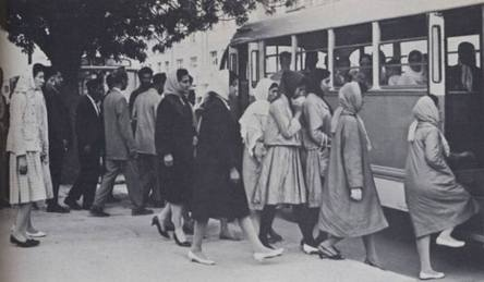 The modern women's coverage and the public transport system