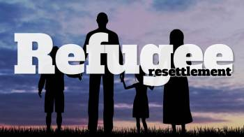 Banner for refugee resettlement