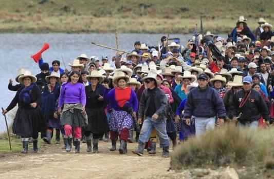 Indigenous farmers march against the Conga mine