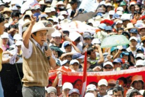 Goyo addresses a rally against the Conga project