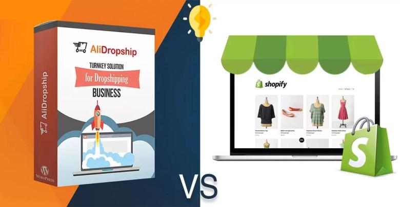 صورة مقارنة بين AliDropship و Shopify لآنشاء متجر دروبشيبنج احترافي