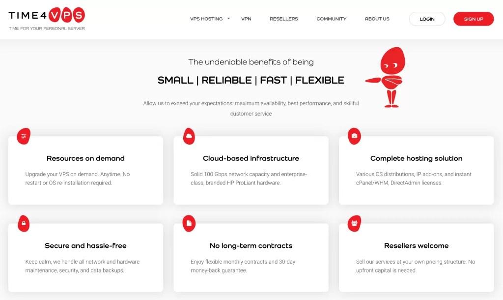 الصفحة الرئيسية لـ time4vps شركة استضافة VPS