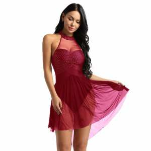 Adults Sleeveless Latin Dance Dress Ballet Leotards for Women