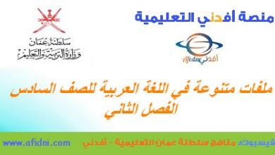 Photo of أهم الملفات في اللغة العربية للصف السادس الفصل 2