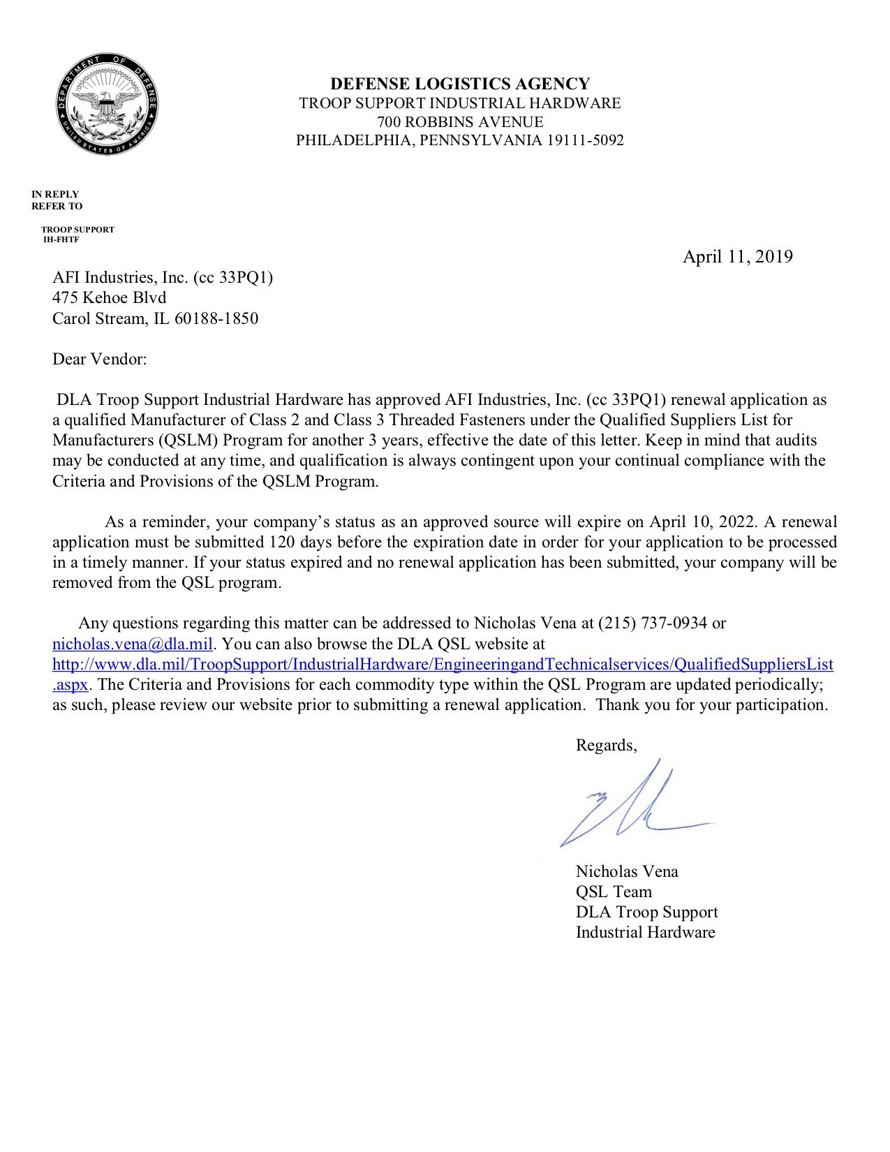 Approval Letter - Reapplication QSLM Class 2 and 3 Expires April 10, 2022