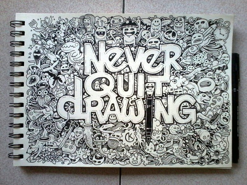 never quit drawing doodle