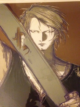 Close up of Squall. You can see Seifer's reflection in his blade.