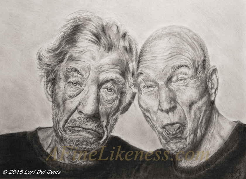 Graphite portrait by Lori Del Genis of Sir Ian McKellen and Sir Patrick Stewart fan art. Both are making comical faces at the viewer.