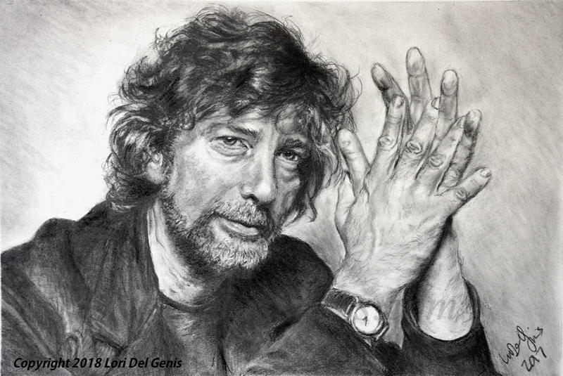 'Neil Gaiman, writer' - Charcoal and graphite portrait by Lori Del Genis of the writer Neil Gaiman fan art. He is shown sitting with his hands held together and looking directly at the viewer.