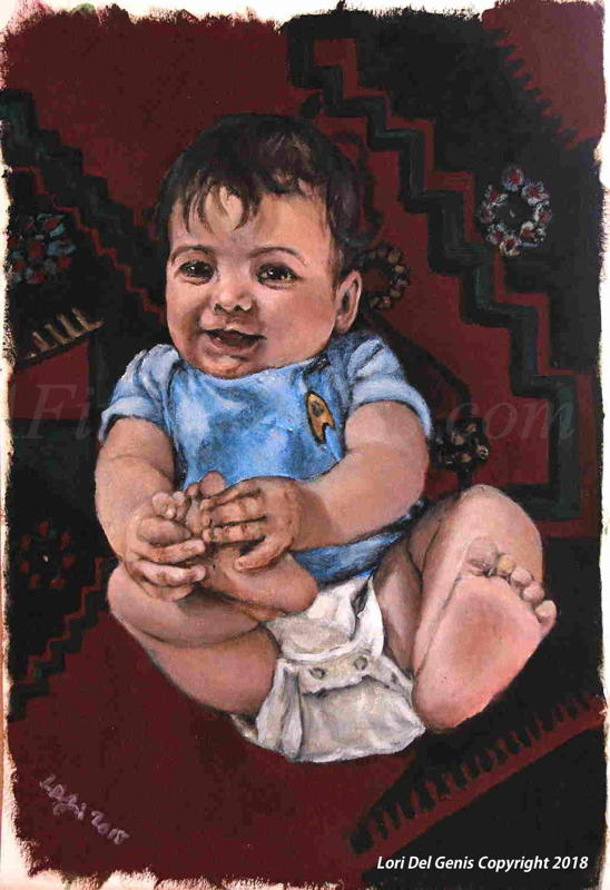 'Little Tulsi, aged 8 months' - Commissioned Oil portrait by Lori Del Genis of a smiling infant who is laying on a multicolored carpet, wearing a wee Star Trek uniform t-shirt and diaper and playing with his feet.