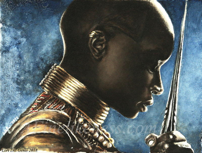 Oil portrait by Lori Del Genis of fan art of Okoye from 'Black Panther'. Okoye is wearing her battle armor and is holding her spear with her head bowed. [Winner, Judge's Choice Award, Boskone Art Show 2019]
