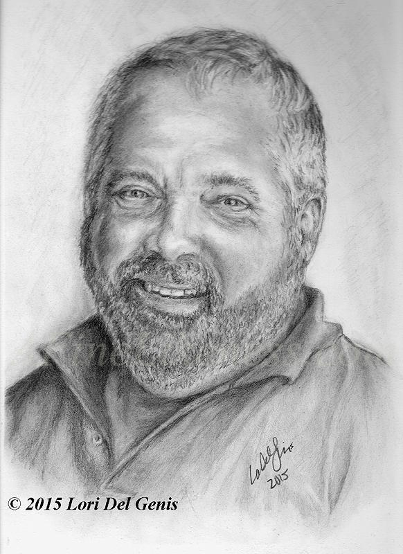 'Rick S.' - Commissioned Graphite portrait of Rick S. by Lori Del Genis. Portrait shows a smiling man with a beard and mustache.