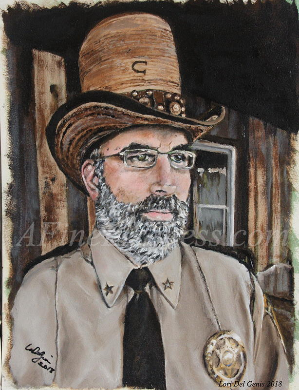 'Constable Casey' - Commissioned Oil portrait by Lori Del Genis, showing a determined looking man in a tall hat and sheriff's uniform.