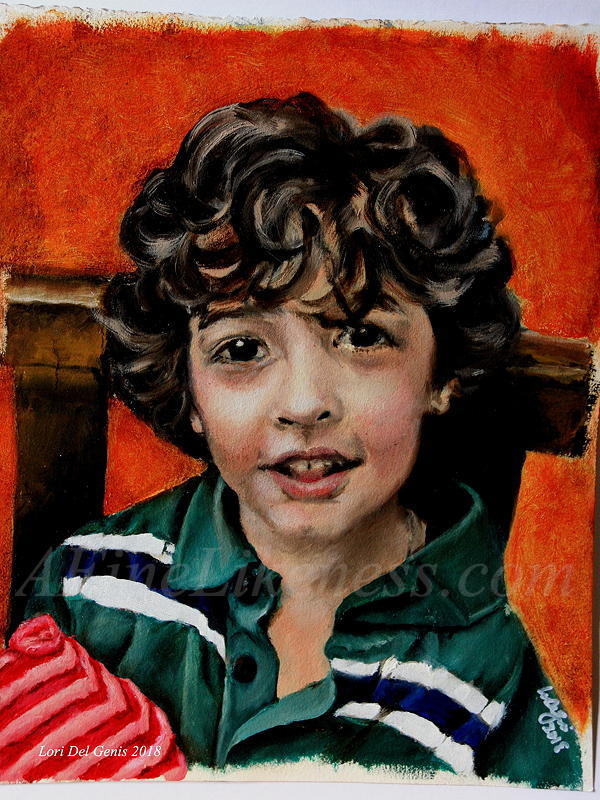 'David, aged 5' - Commissioned Oil portrait by Lori Del Genis of a smiling little boy. The boy has thick brown curly hair, big brown eyes and is wearing a striped t-shirt.