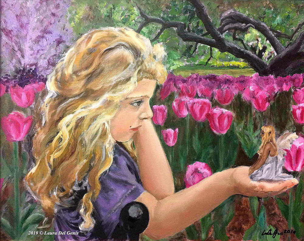 'I Believe' oil painting of a blonde-haired child in a tulip garden holding a fairy on her palm (Lori Del Genis, 2019)