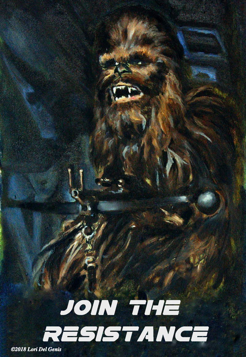Oil painting of Chewbacca from the 'Star Wars' series by Lori Del Genis with the slogan 'Join the Resistance' (2018)