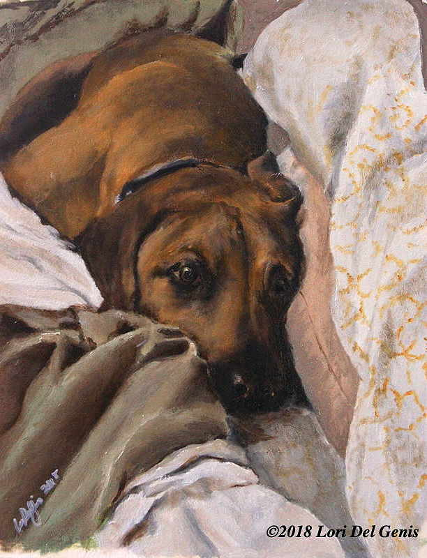 Oil portrait by Lori Del Genis of Zeke, a tawny dog with big brown eyes and laying in a bed.