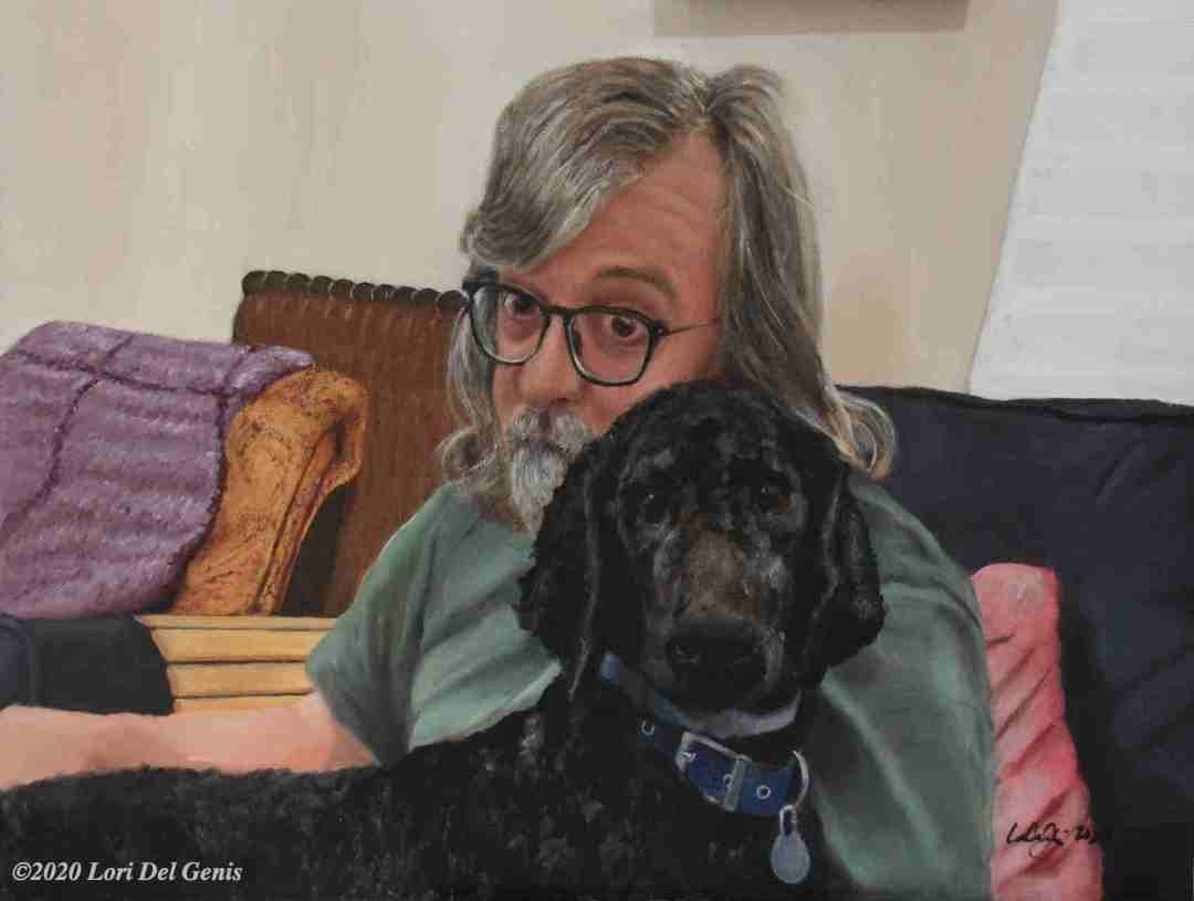 'A Dog and His Boy' oil portrait commission of a large black poodle and his beloved master. (Lori Del Genis, 2020)