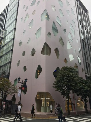 The unique architecture of the Mikimoto building in the Ginza district.