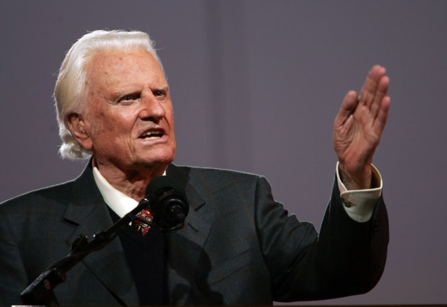 NEW YORK - JUNE 24: Billy Graham speaks during his Crusade at Flushing Meadows Corona Park June 24, 2005 in the Queens borough of New York. Flushing Meadows Corona Park is the site for Graham's sermons on June 24-26, which looks to draw thousands of people from across the country, and will purportedly be the aging Christian televangelist's final crusade. (Photo by Spencer Platt/Getty Images)