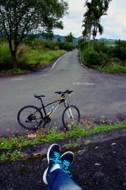 Taking a break with the rental bike.