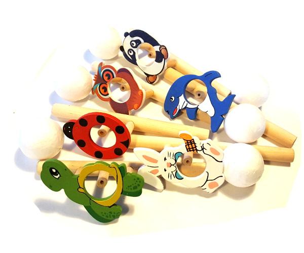 Drewniana zabawka dmuchawka dmuchajka logopedyczna - zwierzak