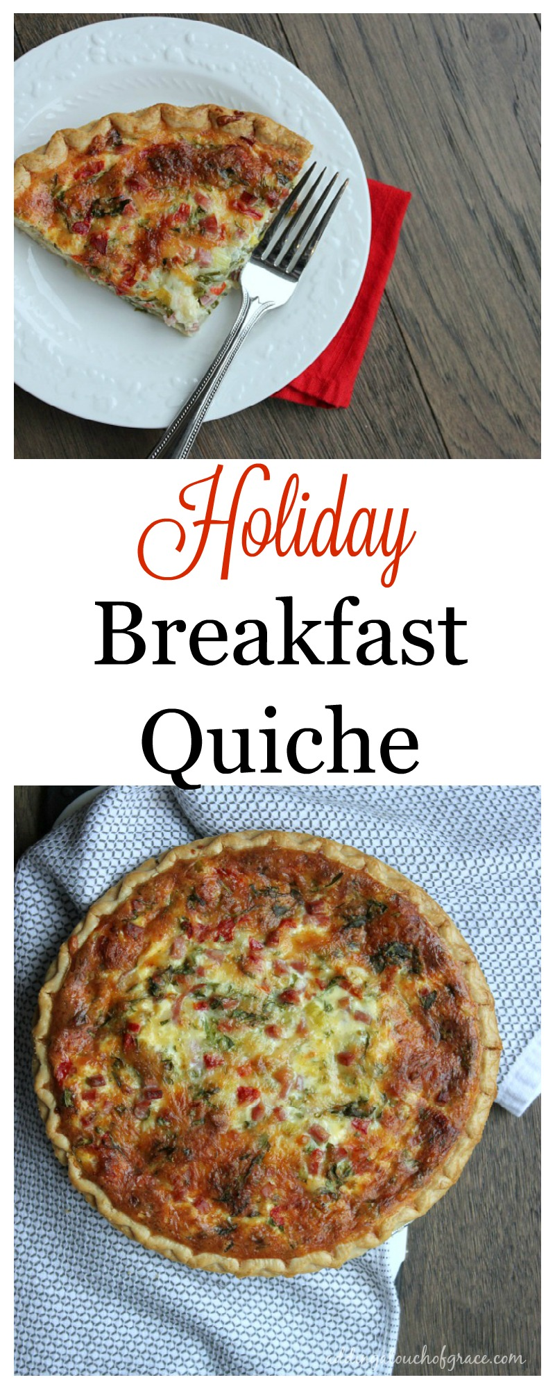 This holiday breakfast quiche is so tasty and so easy to make, you'll never need another quiche recipe.