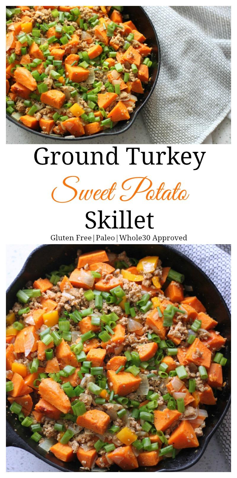 Ground turkey sweet potato skillet. Your family will love this nutritious meal that takes less than 30 minutes to make. #AD #paleo #healthy #sweetpotato #groundturkey