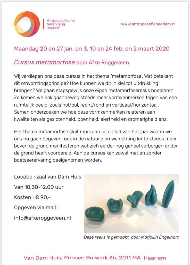 Flyer cursus metamorfose boetseren door Afke Roggeveen. Bij antroposofische vereniging Haarlem. kunstzinnige therapie / vaktherapie beeldend
