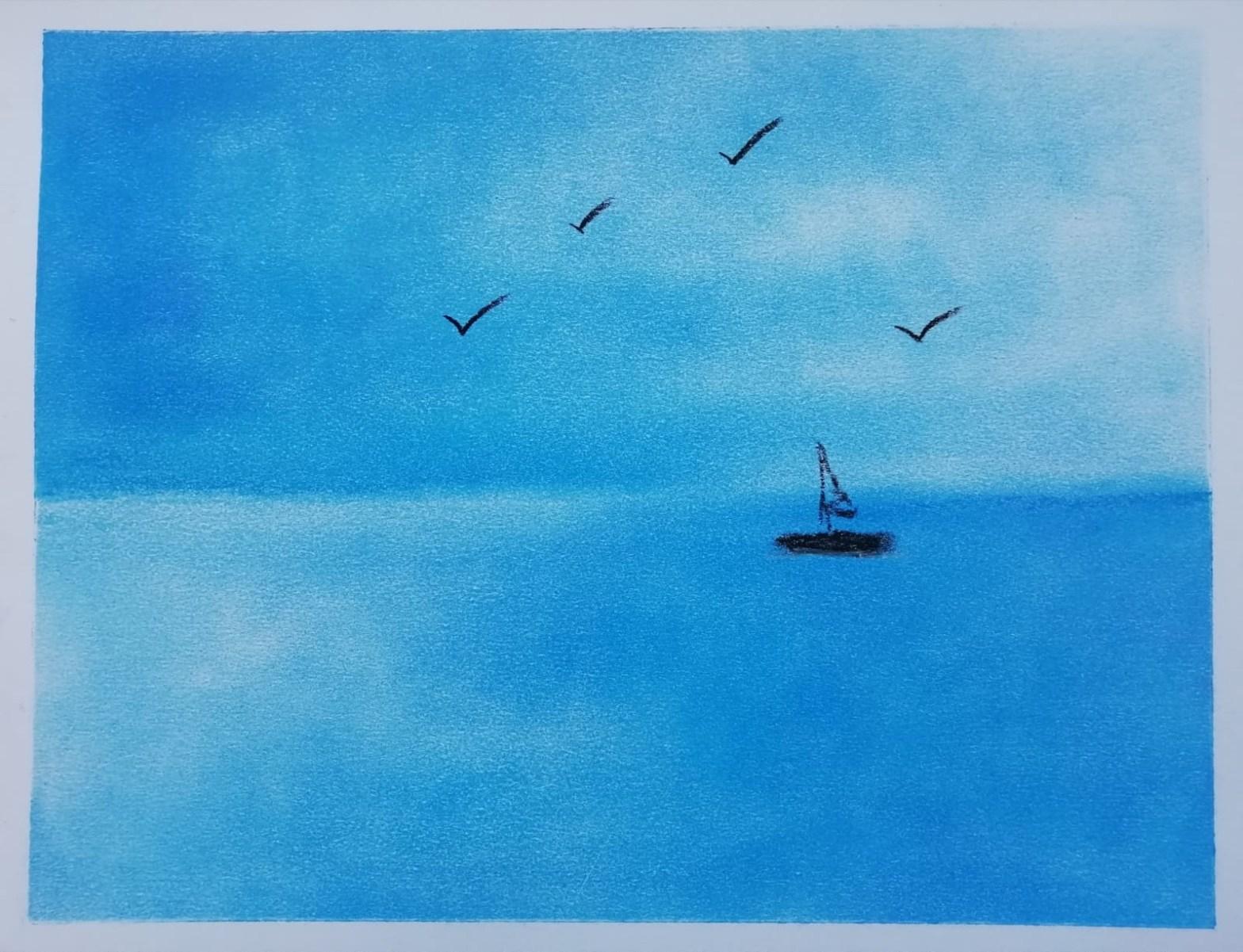 Kunstzinnige oefening van een zee-aanzicht in pastelkrijt. Afke Roggeveen. Kunstzinnige therapie / art therapy / Vaktherapie beeldend / beeldende therapie