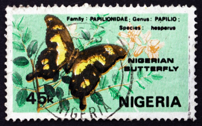 A Hesperus Swallowtail butterfly on a 1982 Nigerian stamp (Boris15 / Shutterstock)