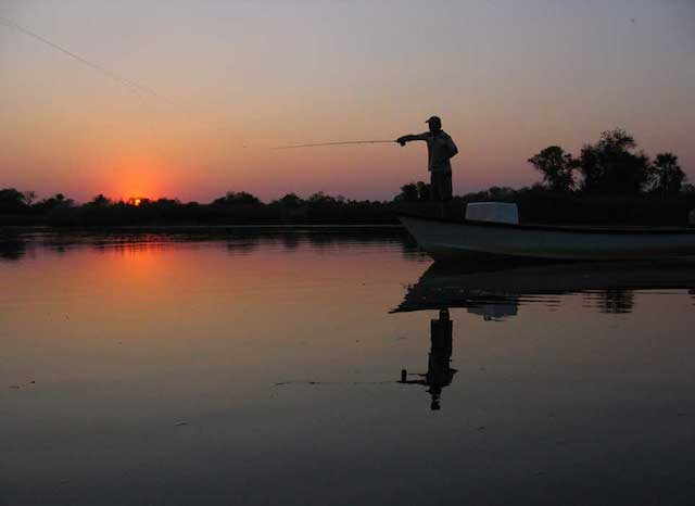 fishing at Nxamaseri Island Lodge in Botswana
